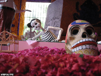 The Blue House In Coyoacan, Freida Kahlo's Home and Atlar on Day of the Dead