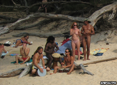 Naked drum circle at Little Beach Maui